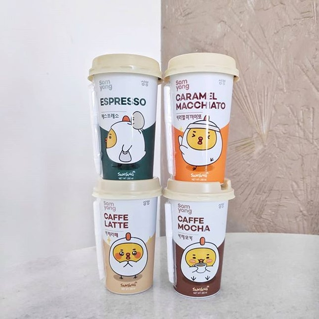 4 different flavours of @samyangfoods_singapore 's ready to drink coffee standing tall and proud 😎 just tried the cafe mocha and it doesn't lose out to freshly made coffee at cafes 😋