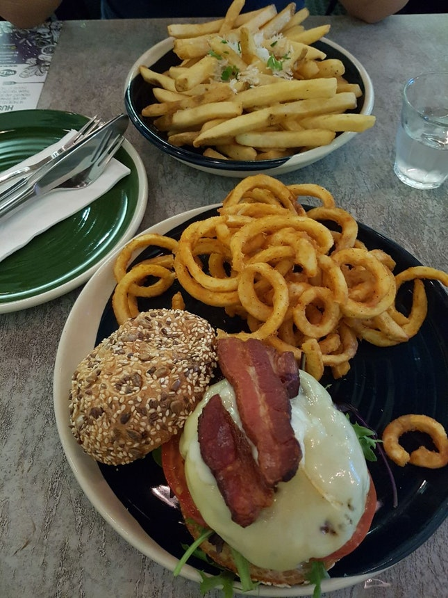 Truffle Fries And 3 Cheese Bacon Beef Burger