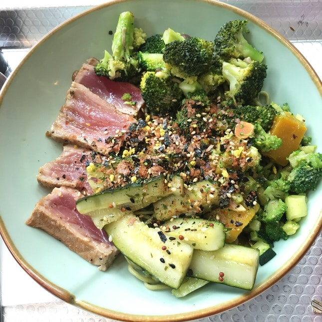 Seared Tuna, Sautéed Broccoli, Zucchini, Cucumber and Soba w/ Asian Sauce
