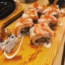 Salmon Aburi Mentai Maki + Soft-shell Crab
