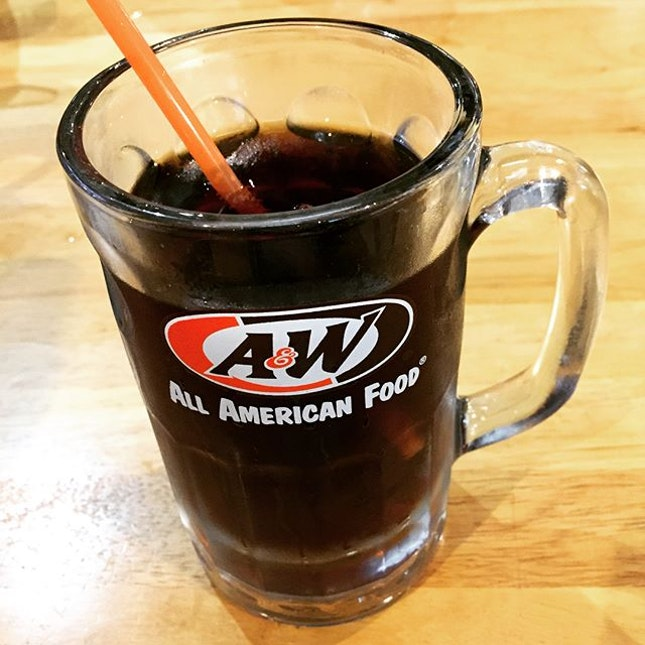 A&W Root Beer in Frosty Mug & Waffle with Butter and Maple Syrup.