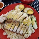Steamed Chicken Thigh Rice with Roast Pork plus Braised Egg($5.70)