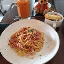 Bacon and ham aglio pasta at ice edge with my teddy bear. Taste great though a little expensive