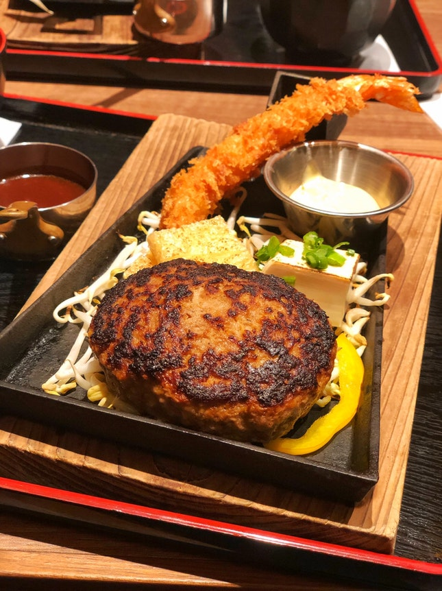 Triple Cheese Prime Hamburg Steak Set with Free Flow Salad and Green Tea [$30.15]