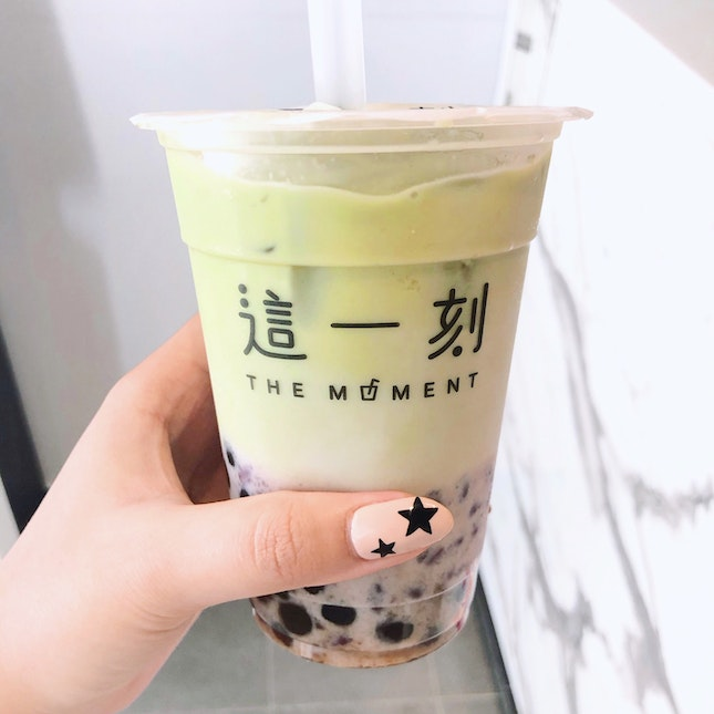 Matcha Latte with Red Bean and Pearls [$5.90]