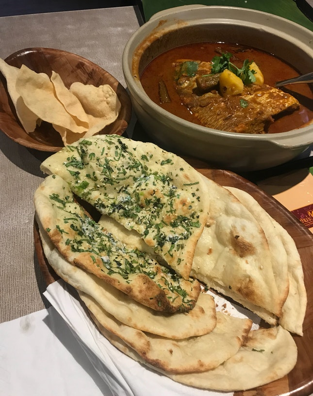 Fish Head Curry M ($27), Naan Basket ($14)