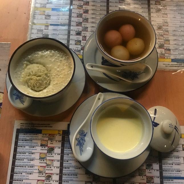 Durian Sago ($6.50), Steamed Milk ($3.30), Tang Yuan ($3)