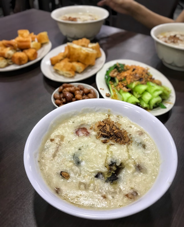 Signature Porridge ($6+), You Tiao ($1.20+ Each), You Cai ($6+), Braised Peanuts ($2+)