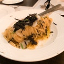 Cold angel hair pasta with uni, scallop and truffle $88