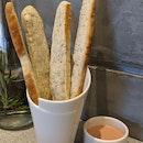 Rosemary Breadsticks With Raspberry Yoghurt Sauce