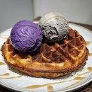 Ube & Black Sesame Ice-cream w/ Waffles