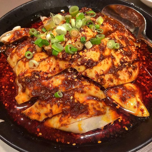 """""""Chong Qing"""" Grilled Chicken with Spicy Bean Paste (重庆口水鸡)."""