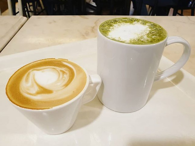 Cappuccino ($6) & Green tea latte ($7)!