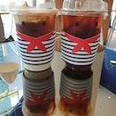 Cold brew honey latte & Cold brew americano (1 for 1: $6) 😍😋👍🏼 .