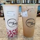 Brown rice milk tea with pink cactus pearls ($5.90) & Burnt caramel milk tea ($4.90)!