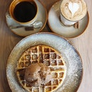 Hazelnut chocolate ice cream waffle ($13+); Long black ($5+); Chai latte ($6+)!