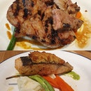 Grilled iberico pork ($23++) & Salmon with almond crust ($22++)!