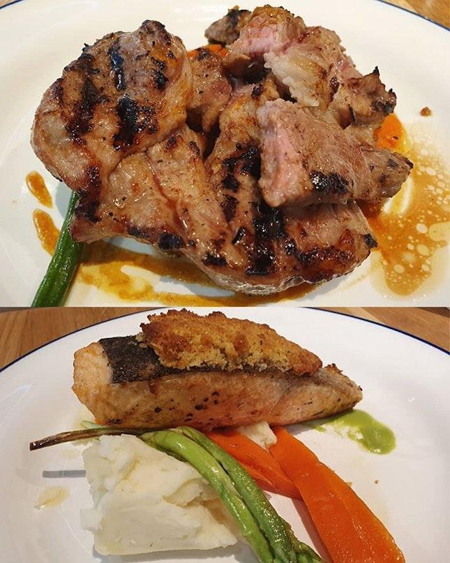 Grilled iberico pork ($23++) & Salmon with almond crust ($22++)!