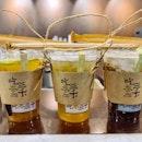 Fruit tea ($5); Honey osmanthus oolong tea ($4.20); Brown sugar milk pearls ($5)!