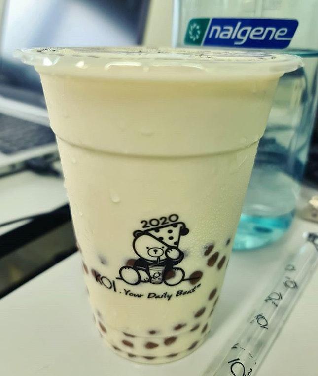 Milk green tea + pearl ($4.50)!