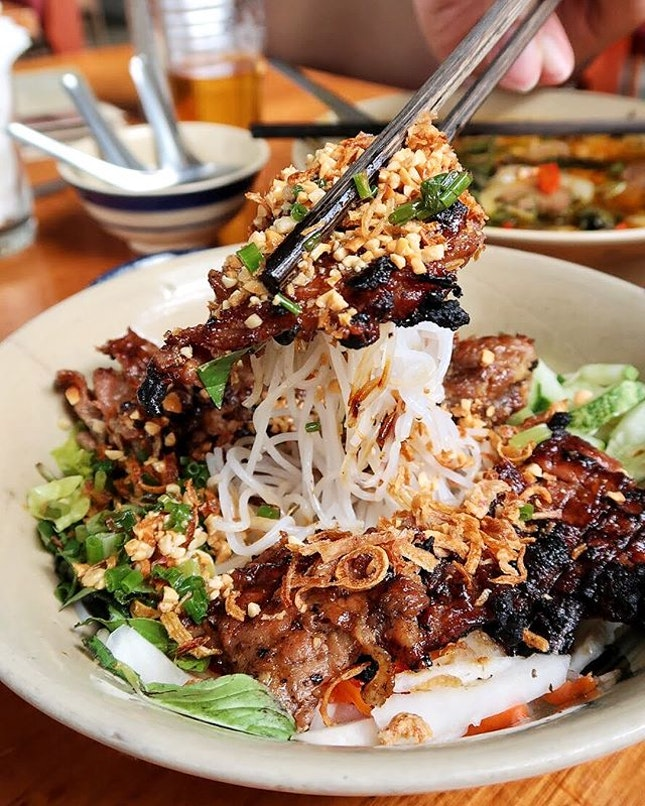 [Mộc Quán 3 of 4] Bún Thịt Nướng ($11.90), or Barbecued Pork with rice noodles - Barbecue sliced and minced pork lay atop rice noodles, topped with cucumber, fresh herbs, toasted peanuts, fried shallots and special homemade fish sauce.