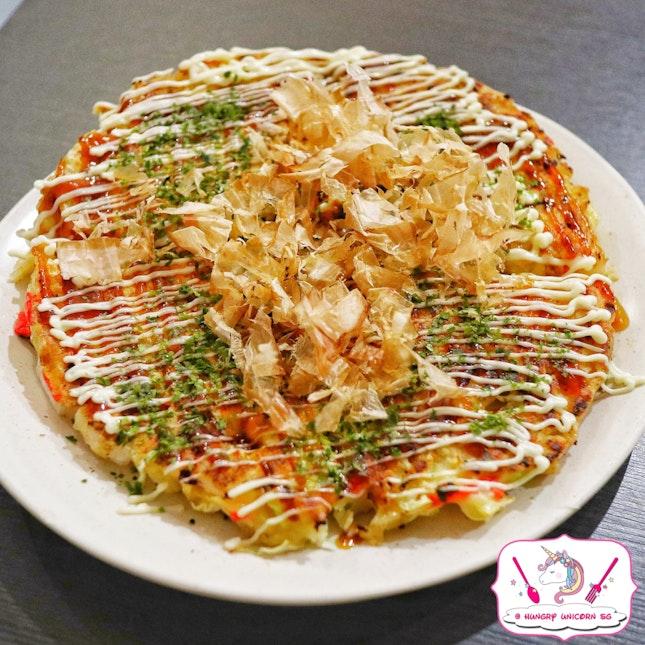 Mix Okonomiyaki (Pork, Squid, Shrimp), $18