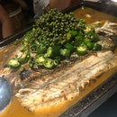 Grilled Sea Bass With Green Peppers & Peppercorn
