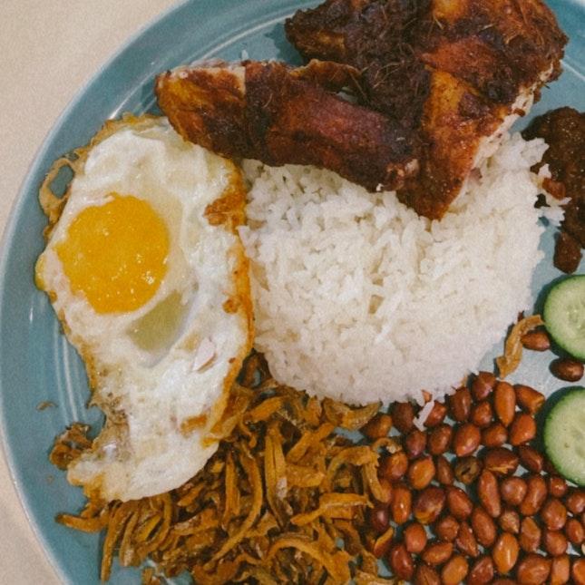 Nasi Lemak With Chicken Leg Set ($14.80)