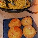 Pork And Scallop Paella ($28) & Ham/crab Croquetas ($7/8)