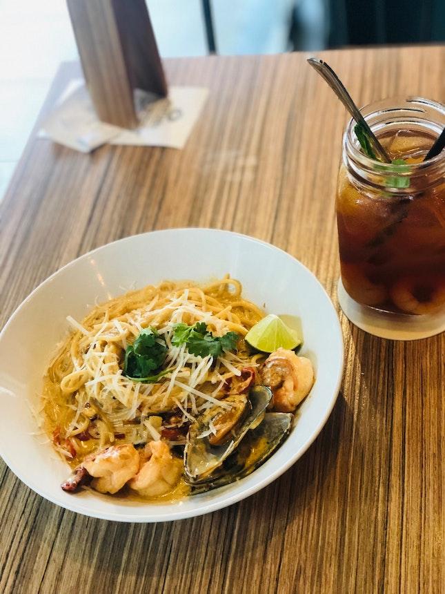 Creamy Tomyum Spaghetti
