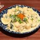 Mentaiko Gnocchi Set ($22.90)which comes with a drink, smoked duck salad and iberico pork.