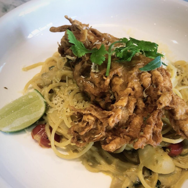 Salted Egg Pasta With Soft Shell Crab