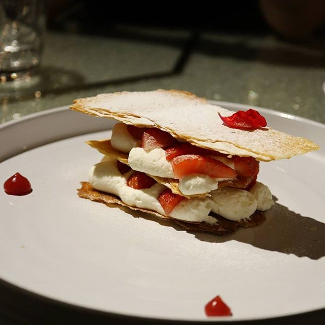 Strawberry Mille Feuille at Xperience Restaurant 🇸🇬 .