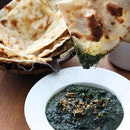 Best Garlic Butter Naan and Asparagus Palak i ever had!