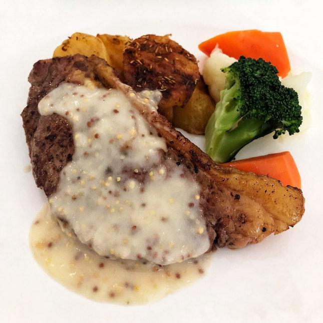 👉 N.Z. Silver Fern Farms Striploin Steak with Grain Mustard Sauce👈