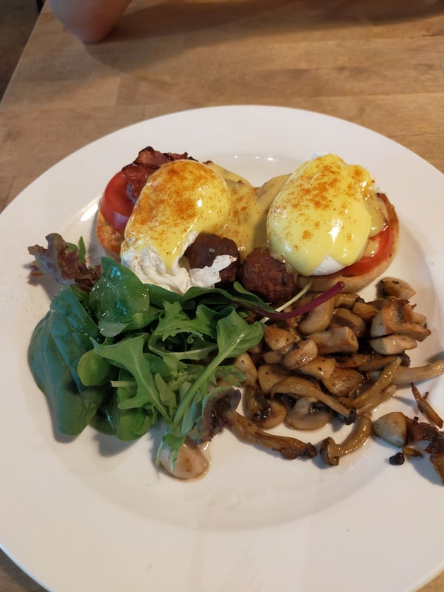 Eggs Benedict With Side Of Mushrooms