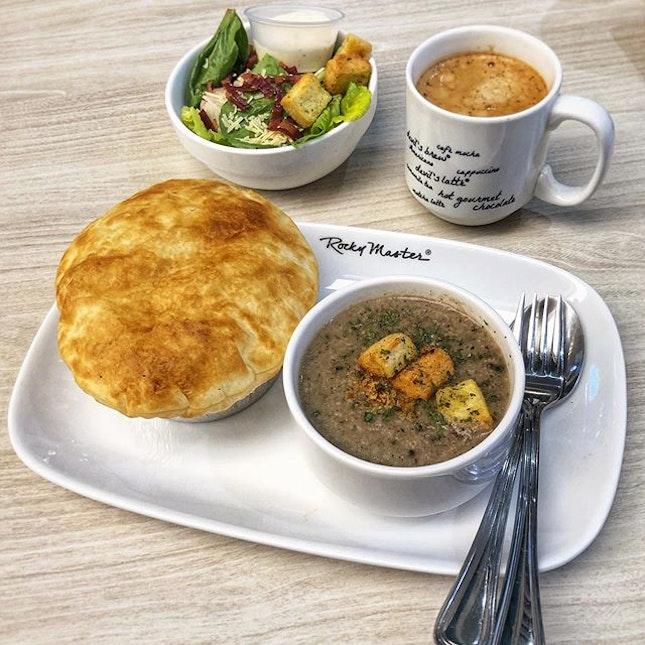 A crusty pottie pie and creamy mushroom soup for the sick😐