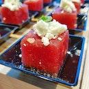 Culinary On Singapore * New Canapés Menu * ~ Raspberry Compressed Watermelon w Feta Cheese ~ * 😍😍😍 😴 😴 😴 #culinaryon #culinaryonsg #watermelon #fetacheese #dailyfoodfeed #thisisinsider  #hungrysquad #foodstarz #eatingnyc #exploreflavours #asiafoodporn #feedthepanda #dailyfoodfeed #rerg #thefoodjoy #hungryfever #tastemade #feedyoursoul #tastethisnext #eatfamous #theartofplating #gastroart #cliffyncheeze #starvingfoodseeker  #jktfoodbang #exploresingapore  #burpple #8dayseat #visitsingapore  #singaporeinsiders #igfoodies