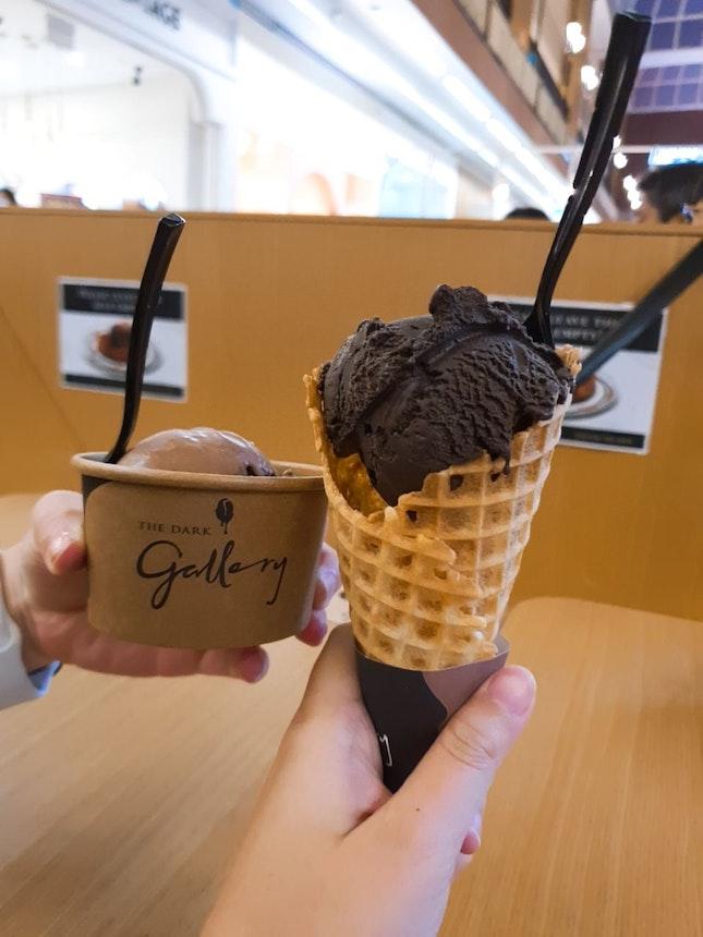 Signature Dark Chocolate (Cone) And 35% Milk Chocolate Ice Cream (Cup)