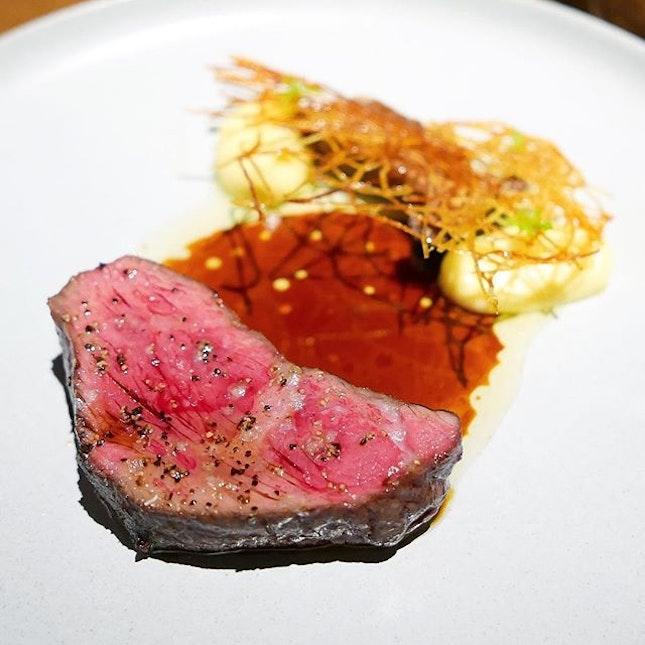 Angus Rib Cap, Smoked Potato Purée, King Oyster Mushrooms, Potato Rosti, Beef Jus.