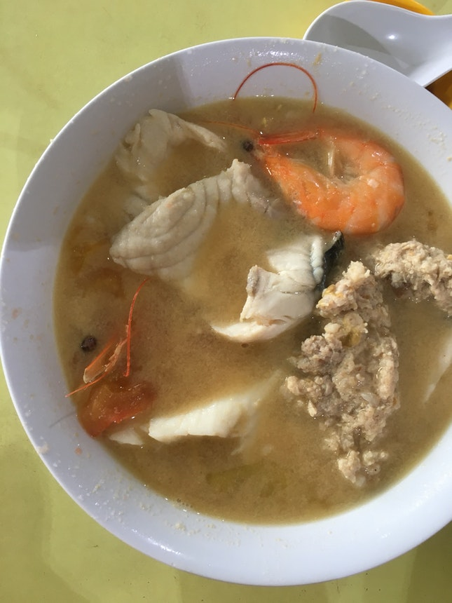 Seafood soup with fish, prawns and minced meat