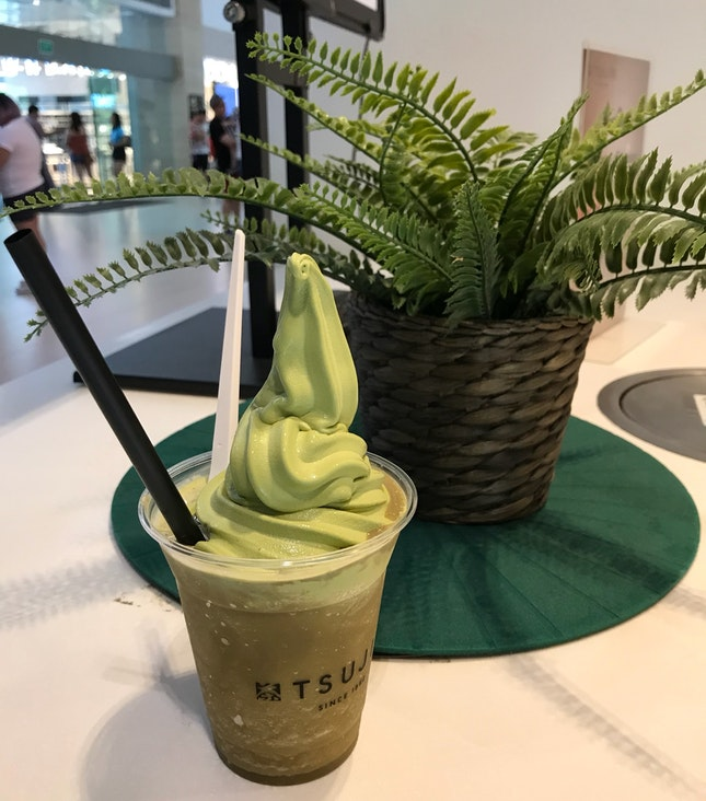Tsujiri Houjicha Float with O-Matcha Ice Cream