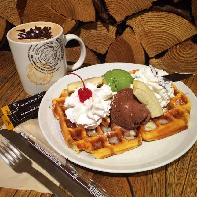 Ice cream waffles and hot chocolate