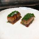 Caramelized foie gras terrine, puff pastry, Sherry glazed leeks