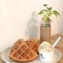Waffles + One Scoop Ice Cream($6.50+$4)