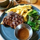 NZ ribeye steak with black pepper sauce, top up $3.90 for churros dessert.