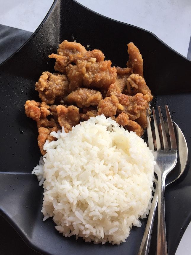Rice With Garlic Chicken $6