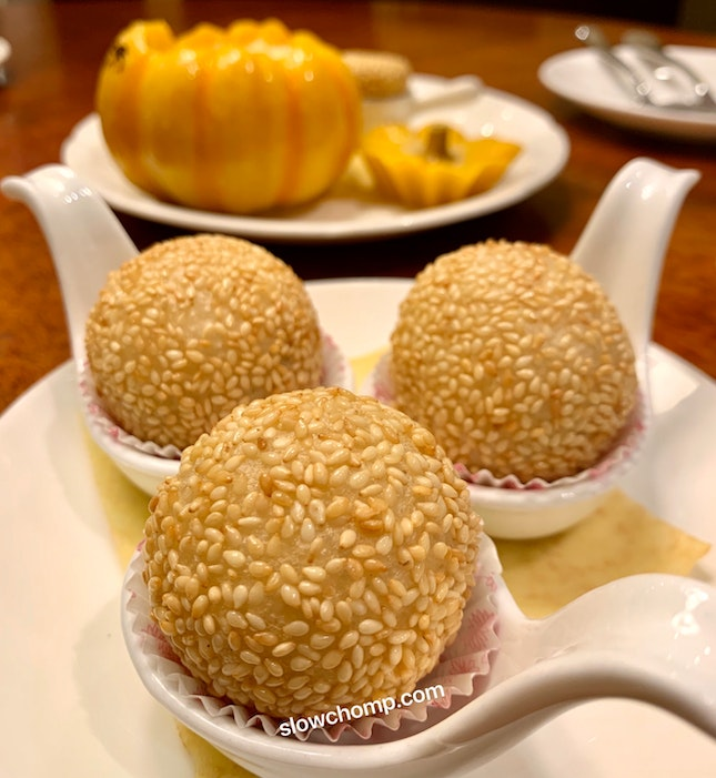 Fried Sesame Balls With Red Bean And Liquor Chocolate Filling, $8++ For 3 Pieces