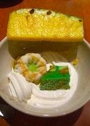 Coconut Ice Cream, Puteri Ayu, Pandan Cake & Pineapple