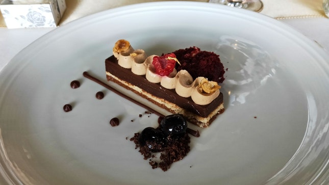 Chocolate & Hazelnut Tarte With Whisky Cream Amarena Cherries